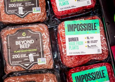 Pack shot from supermarket of plant based burgers